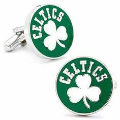Mens Nickle Plated NBA Vintage Boston Celtics Cufflinks