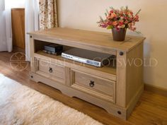 Flat Screen TV Unit | TV Stand | Corona Mexican Pine TV Table | 2 Drawers - http://www.computerlaptoprepairsyork.co.uk/tvs-and-accessories/flat-screen-tv-unit-tv-stand-corona-mexican-pine-tv-table-2-drawers-2