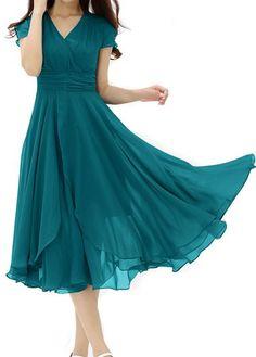 Peacock Blue V Neck High Waist Midi Dress