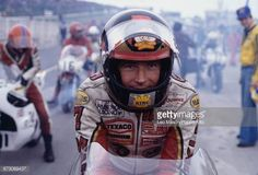 British motorcycle racer Barry Sheene pictured on the starting grid prior to competing for Suzuki in the Superbike Final race at Brands Hatch circuit...