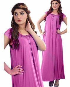 7656f6fc48 Orange Long Nighty Dotted   Side Pocket Front Button 902 - Women Nightdress