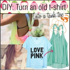 """""""DIY: Turn a t-shirt into a tank top"""" by strawberryunni ❤ liked on Polyvore"""