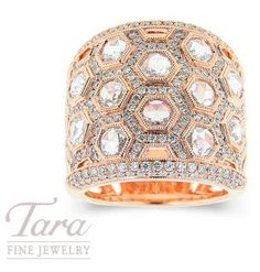 Sweet as honey, this spectacular honeycomb patterned Diamond Ring is an extraordinary design of amazing diamond sparkle set in rich 18k pink gold.  Only available at Tara Fine Jewelry Company, Atlanta's fine jeweler.