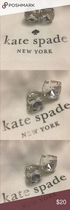 NWOT Kate Spade New York Chunky Signature Studs Lg Never worn Kate Spade's New York Chunky Stone Studs in Crystal Silver from Nordstrom.  Retails for 68.  These are the large square Studs. kate spade Jewelry Earrings