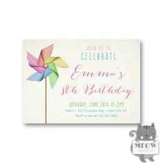 235 best birthday invitations for girls images on pinterest pink birthday invitations girl rainbow pinwheel birthday invites party at the park invitations sleepov filmwisefo