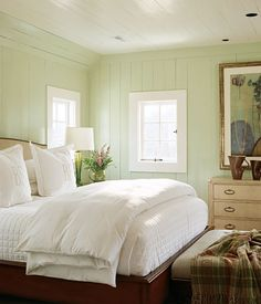 Love fluffy White bedding and painted wood walls -so fresh! Green Bedroom Walls, Bedroom Paint Colors, Green Rooms, Wall Colors, Light Green Bedrooms, Green And White Bedroom, Light Green Walls, Yellow Walls, White Walls