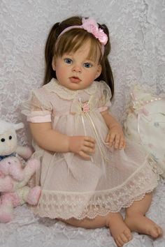 Reborn Toddler Doll Baby Girl Arianna by Reva Schick OOAK Brown Silky Human Hair | eBay