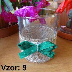 Svietnik sklenený s mašľou - Sviečka - Bez sviečky, Vzor - Vzor 9