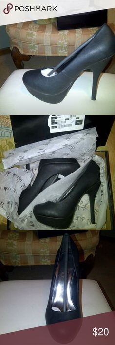 NEW Deb Platform Pumps New in box black platform pumps. Box is damaged from being in my closet under mountains of other shoe boxes. I have entirely too many shoes!! I also have this exact pair in Nude as well. Deb Shoes Heels