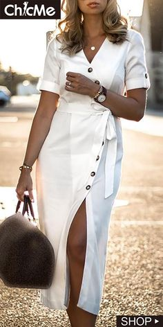 91 Classy Summer Work Outfits Appropriate For The Office Zara Dresses, Casual Dresses, Fashion Dresses, Summer Dresses, White Dress Casual, Slit Dress, The Dress, Dress Skirt, Mode Outfits