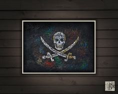 Hand-Painted Pirate Flag-Jolly Roger-Distressed by ArtForLoft