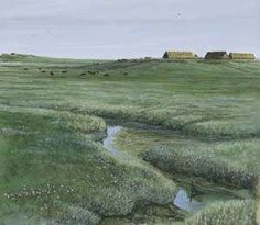 Rendering of an Early Medieval residential mound in the fenlands of Dantumadeel, Friesland by Rob Beentjes Early Middle Ages, Water Management, Call Art, Country Scenes, Viking Age, North Sea, Historical Architecture, Prehistory, Dark Ages