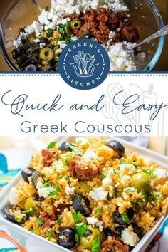 This wonderful quick and easy Greek Style Couscous Salad is perfect for picnics or posh lunches. #10minutegreekstylecouscoussalad #errenskitchen Recipe For 10, Whats For Lunch, Dried Tomatoes, Fresh Mint, Kitchen Recipes, Picnics, Atkins, Lunch Recipes, Salads