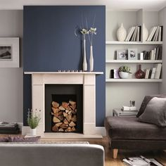 Buy Johnstone's Wall & Ceiling Paint Matt - Manhattan Grey at Argos. Thousands of products for same day delivery or fast store collection. Blue Feature Wall Living Room, Navy Living Rooms, Blue Living Room Decor, Living Room Lounge, Living Room Color Schemes, Living Room Paint, New Living Room, Interior Design Living Room, Living Room Designs