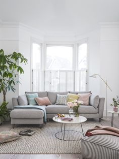 New DFS sofa Claudette is chic, stylish and perfect for the modern home - living room designs Living Room Modern, Home Living Room, Apartment Living, Cozy Apartment, Rustic Apartment, Coastal Living, Living Room With Sectional, Living Room Decor Grey Sofa, Living Room Without Tv