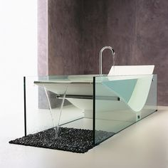 Nothing screams RELAXING LUXURY better than lazing away endlessly in a tub. 15 modern and stylish bathtub designs that will spice up your bathroom and help you relax after a long day of work. Now, let's begin our relaxing journey… Modern Bathtub, Modern Bathroom, Master Bathroom, Washroom, Small Bathroom, Luxury Bathtub, Bathroom Interior, Glass Bathtub, Stone Bathtub