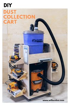How to Build a Dust Collection Cart with sanding storage. Video tutorial and pla. How to Build a Dust Collection Cart with sanding storage. Video tutorial and plans available!