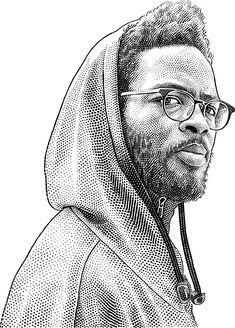 Knxwledge stipple hedcut portrait by Katya Shulzhenko @Behance: «Stipple portrait of musician» https://www.behance.net/gallery/61067807/Stipple-portrait-of-musician