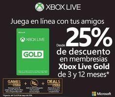 Xbox Live Gold descuentos en membresías