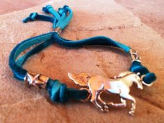 Sterling Silver Horse and Turquoise Leather : Adjustable Cowgirl Bracelet | Free Shippin on Western Jewelry