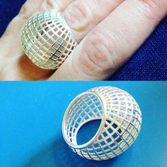This silver ring heading to @gillwingjewellery for a customer tomorrow #madetoorder #jewellery #ring #geometric #mesh #silver