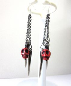 Spike and Sugar Skull Earrings Day Of the Dead by sweetie2sweetie, $16.99