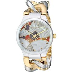 Akribos XXIV Women's Genuine Diamond Accented Mother-of-Pearl... (£58) ❤ liked on Polyvore featuring jewelry, watches, akribos xxiv, sparkly watches, chain link jewelry, sparkle jewelry and dial watches