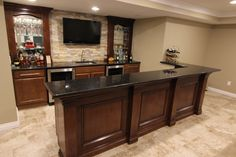 Merillat Classic basement bar designed by Mans Kitchen & Bath department