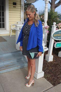Easy way to Dress Up a Striped Dress