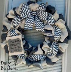 Burlap Wreath - White and Gray Burlap with Chevron - Home Decor - Front Door Wreath - Spring Wreath - Everyday Wreath - Burlap - Summer