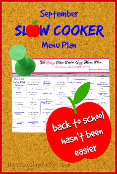 Download a FREE Printable Slow Cooker Menu Plan for September.
