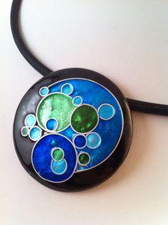 "handmade glass enamel pendant made with fine silver cloisonne, 1.5"" diameter"