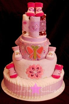 Girl diaper cake - this is cuter than the ones they are diapers
