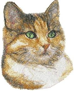 Advanced Embroidery Designs - Green-Eyed Cat