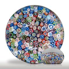 Antique Baccarat 1847 close packed millefiori with silhouettes paperweight.