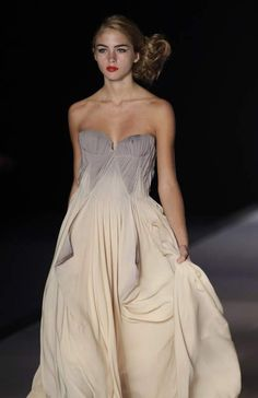 Adrienne--Hand dyed and Painted Beige and Gray Double Georgette Gown