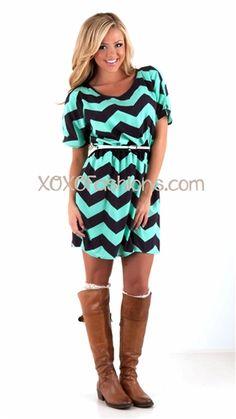Navy and Mint Chevron Belted Dress | Trendy Dress | Chevron Print