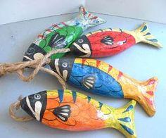 paper+mache+fish+   Hand Made Paper Mache Fish