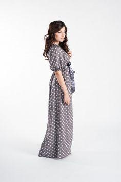 Длинное женственное платье, кофейное в горох
