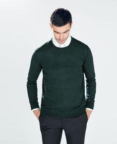 ZARA - HERREN - MERINOPULLOVER MIT RUNDEM AUSSCHNITT GRÜN - Merino - Farben schön dunkel! - grün / navy / schwarz / dunkles purple - 40€