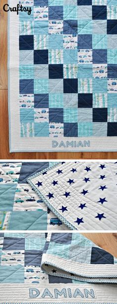 This beautiful baby quilt uses a gradient of blues and incorporated the baby's name. What a cute baby shower gift! Project by Craftsy member Geraldine Conway.
