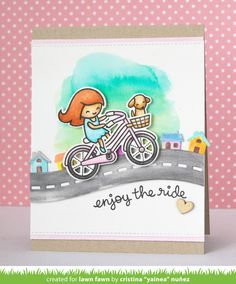 Lawn Fawn Intro: Bicycle Built for You, Road Border, Simple Road Border, Little Picket Fence Border
