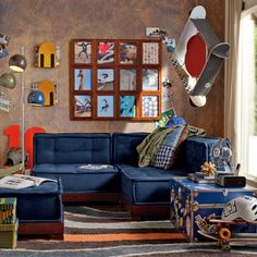Skateboarding Theme With Blue Lounge Sofa And Floor Lamp With Blue Brown And Green Shade
