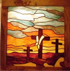 susan weaver stained glass three crosses