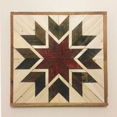 Rustic Reclaimed Wood Eight Point Star Quilt Square (red star) by TheLittleWoodshoppe on Etsy https://www.etsy.com/listing/506713637/rustic-reclaimed-wood-eight-point-star