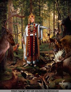 Frigg, Queen of Asgard and wife of Odin, mother to Baldur and step mother to Thor, Tyr, Hermodr, Hödur, and Bragi was first and foremost among the Asynjur or Norse goddesses. She was the only one who could sit with Odin on his throne, Hlidskjalf (located in Valaskjalf), and look down on everything that transpired in the universe. She was a prophetess who spun the clouds. Her name means beloved lady in the Old Norse