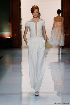 georges hobeika spring 2014 couture pearl embellished white jumpsuit