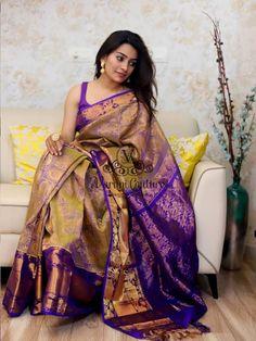 Discover thousands of images about saree designs varuni gopen Kanjivaram Sarees Silk, Indian Silk Sarees, Kanchipuram Saree, Chiffon Saree, Saree Dress, Satin Saree, Pink Saree, Pattu Sarees Wedding, Bridal Sarees