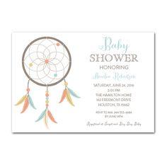 Editable PDF Baby Shower Invitation DIY - Dreamcatcher - Instant Download Printable- Edit in Adobe Reader