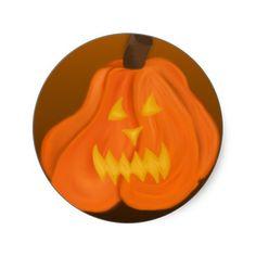 #JackOLantern #Sticker in #Brown #halloween #zazzle #seasonal #autumn #fall